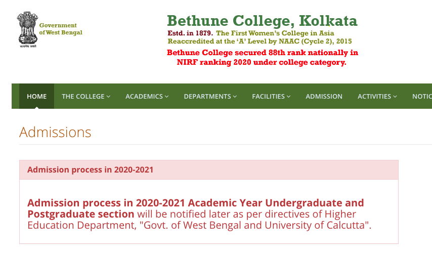 bethune college admission notice 2020 merit list download