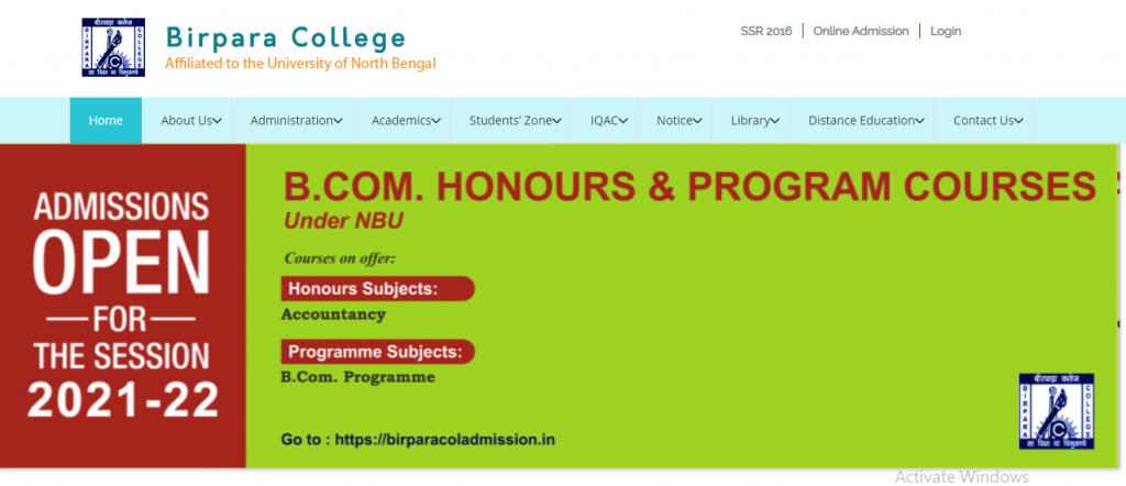 Birpara College Merit List 2021 BA BSc BCom Hons General | Birpara college merit list / admission / cut off marks / seat capability / Eligibility Condition | Birpara College Merit List 2021-2022,