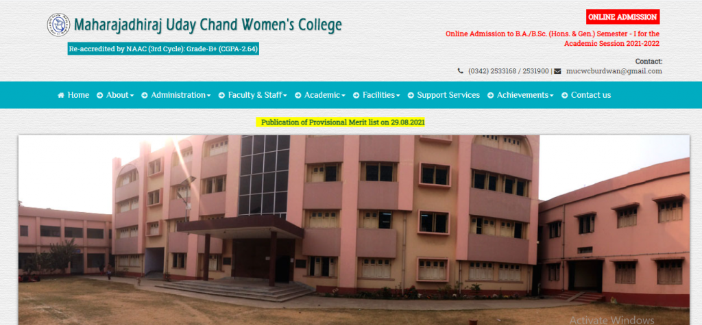 MUC Women's College Merit List (Out) 2021 | BA Honours General Provisional List for Admission @ mucwcburdwan.org | MCU Women's College Admission Merit List 2021-22,